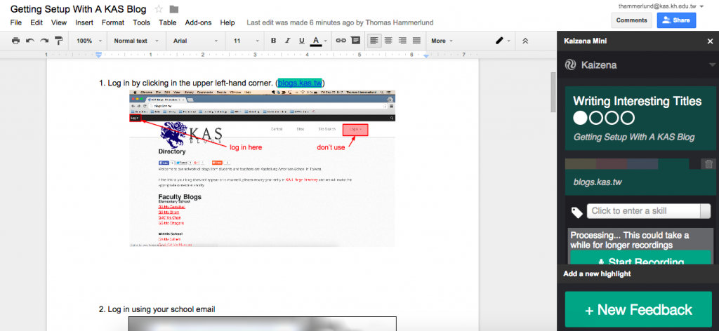 Kaizena: Voice Feedback on Google Docs