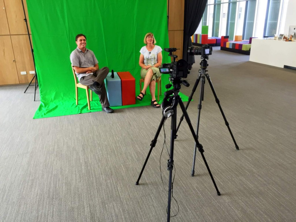 John and Amy test the green screen