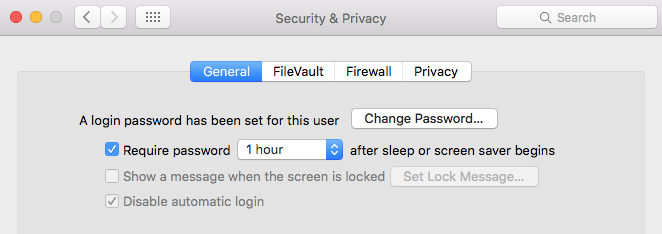 Delay after which a password is needed
