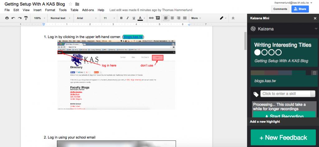 Kaizena: Voice Feedback on Google Docs