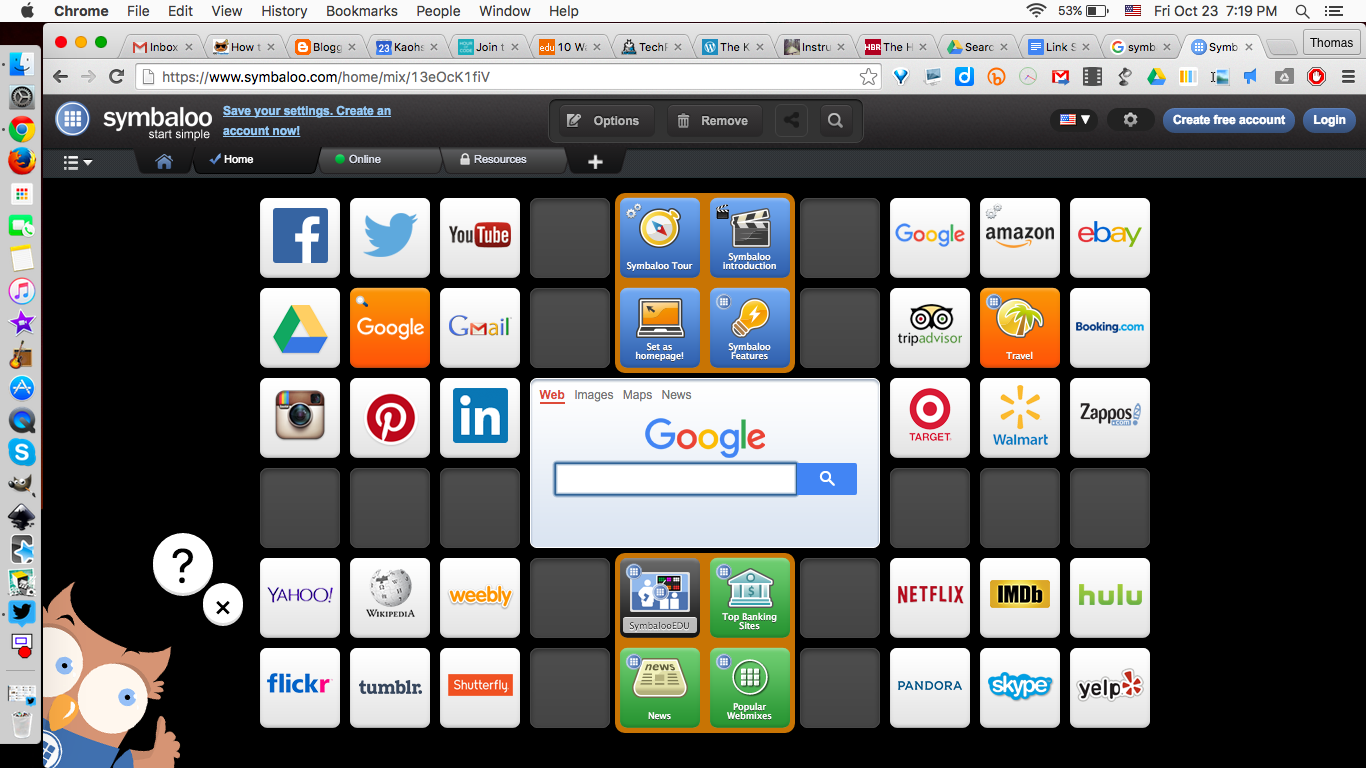 Various categories of links sharing with Symbaloo