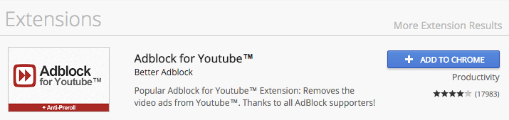 Adblock for YouTube in the Chrome Web Store