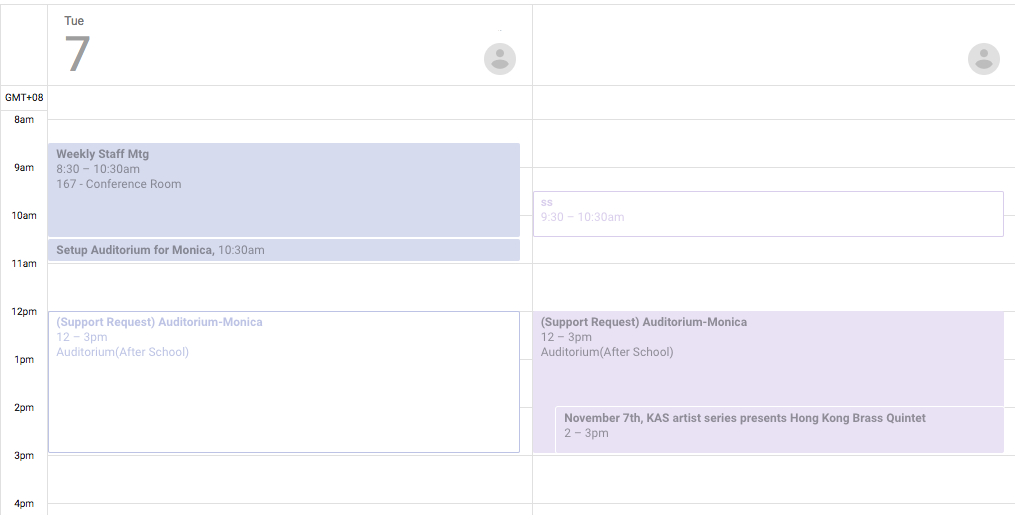 New Version of Google Calendar Side by Side Daily View