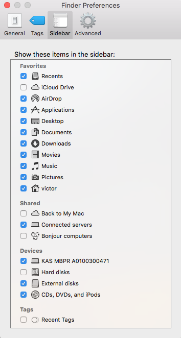 Customize Apple Finder Preferences Sidebar