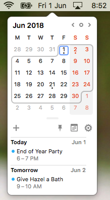 Calendar in your Menu Bar